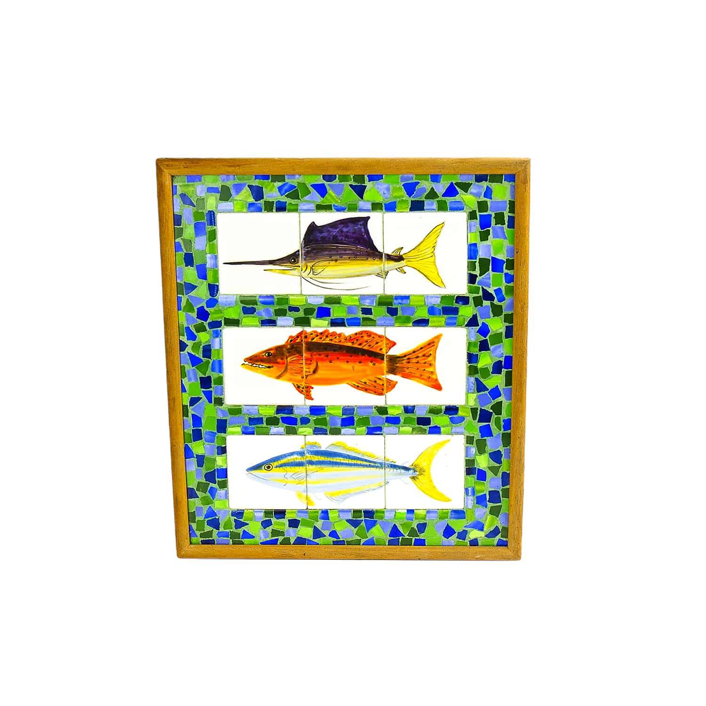 โมเสกกระเบื้องเพ้นท์พร้อมกรอบ Tiles handpainted and mosaic withframe