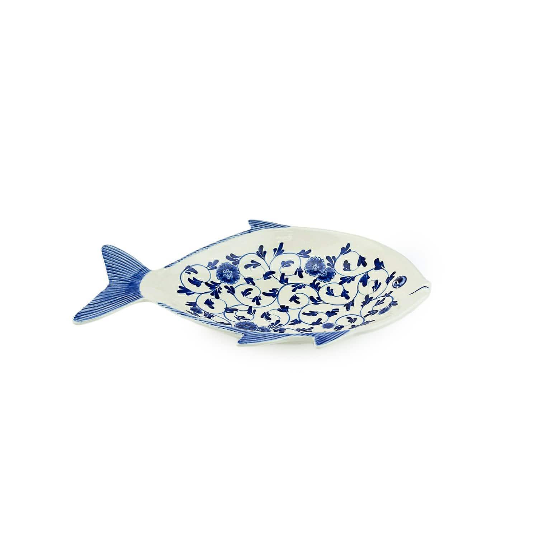 จานปลาน้ำเงิน-ขาว