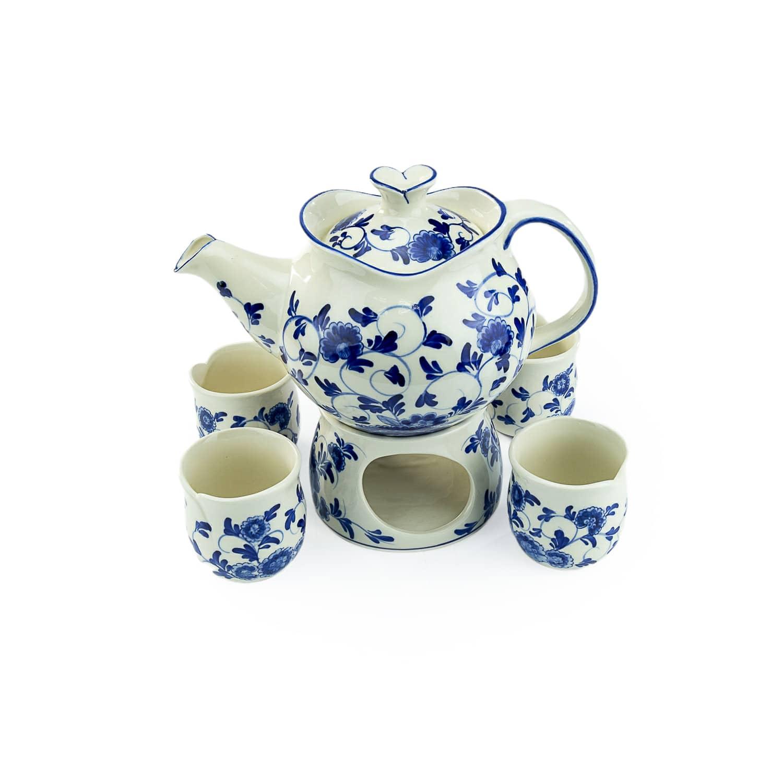 ชุดน้ำชากลีบดอกลายน้ำเงิน-ขาว