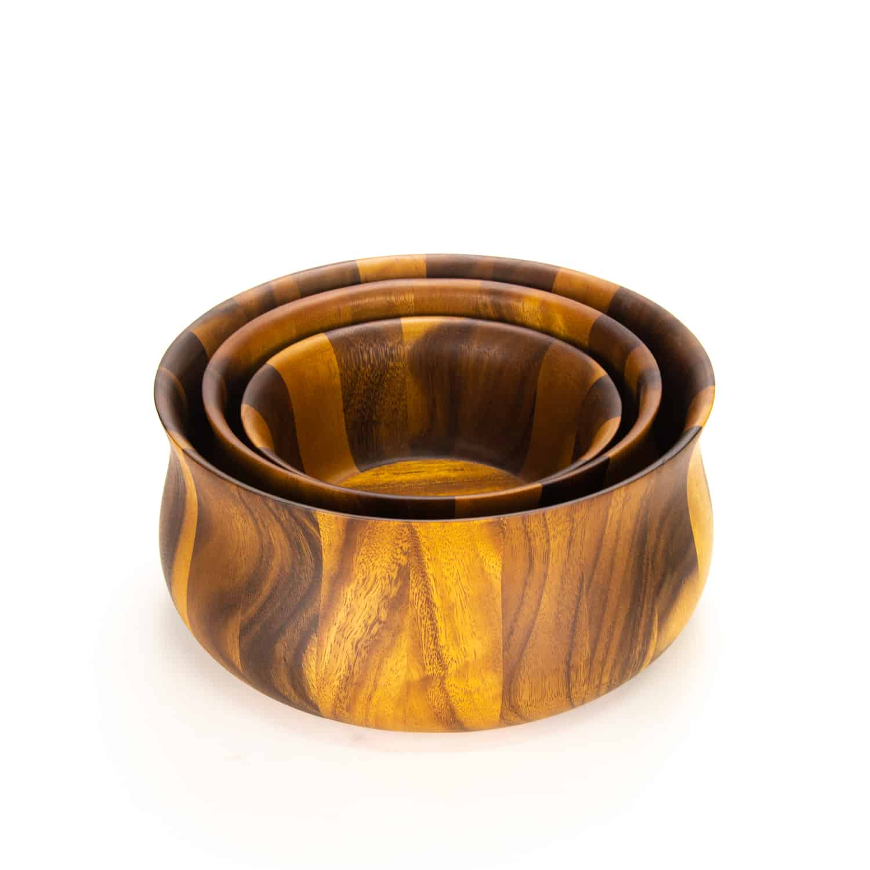 Acacia tulip  salad bowl set