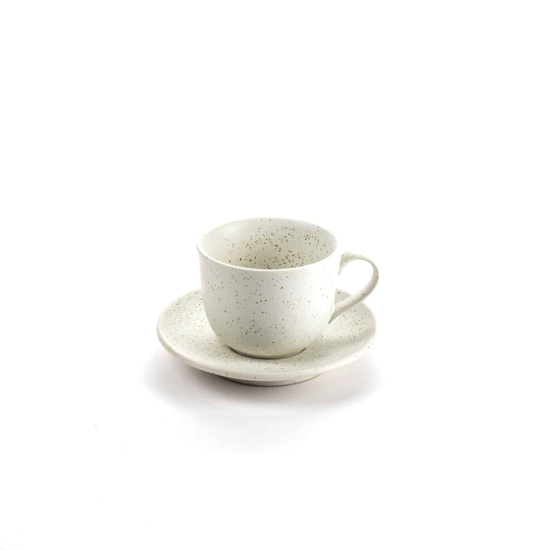 ชุดกาแฟเซรามิก สีขาวด้านเม็ดจุด