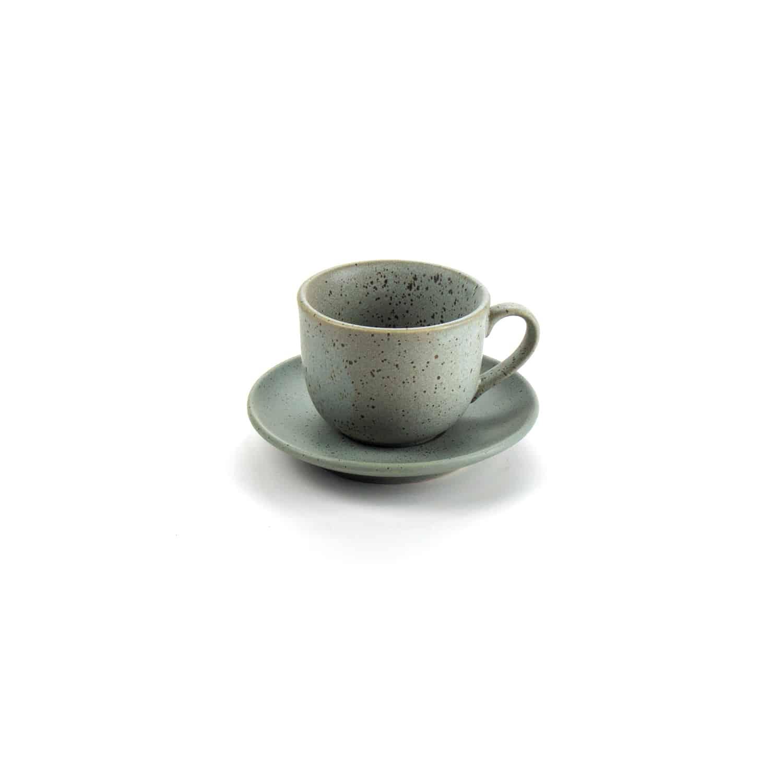 ชุดกาแฟเซรามิก  สีเทาเม็ดจุด